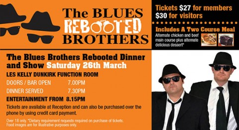 Saturday March 26th Blues Brothers Rebooted At Ingleburn RSL 8pm