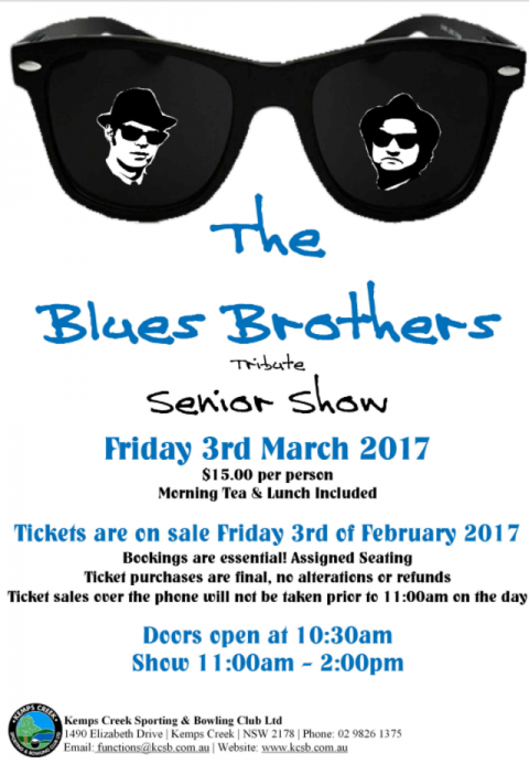 3rd March 2017 – Blues Brothers Rebooted (Duo) feat Paul Adams at Kemp's Creek Bowling Club (Senior Show)