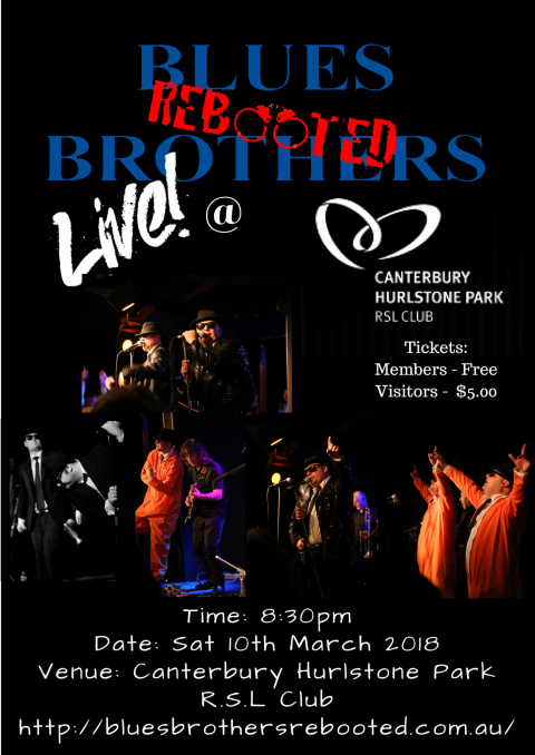 Blues Brothers Rebooted Live at Canterbury Hurlstone Park R.S.L Club