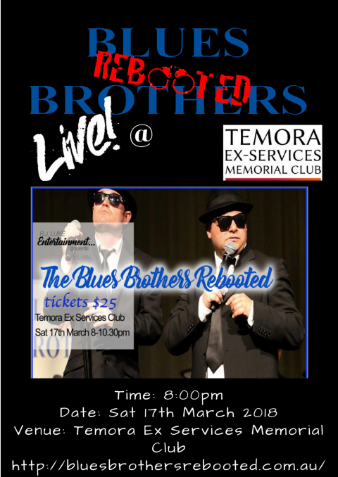 Blues Brothers Rebooted Live at Temora Ex-Services Memorial Club