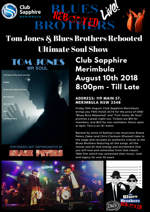 Tom Jones & Blues Brothers Rebooted Ultimate Soul Show live at Club Sapphire Merimbula