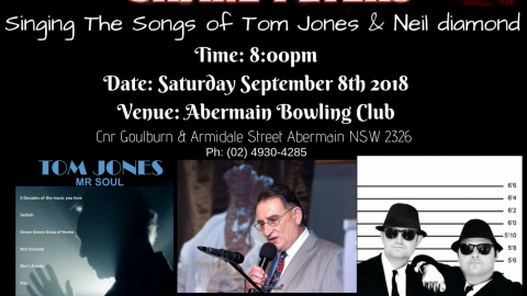 Blues Brothers Rebooted Feat Shane Peters Singing the Songs of Tom Jones/Neil Diamond at Abermain Bowling Club