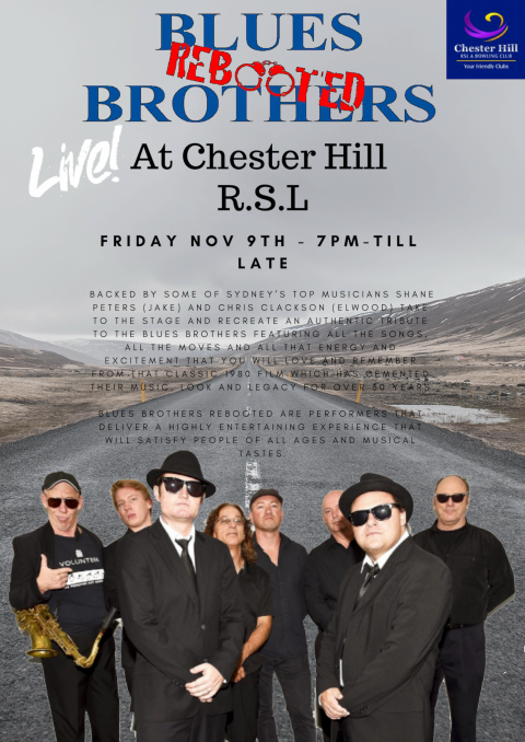 Nov 9th 2018 – Blues Brothers rebooted Live at Chester Hill R.S.L