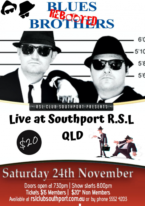 Nov 24th – 2018 Blues Brothers Rebooted Live at Southport R.S.L QLD