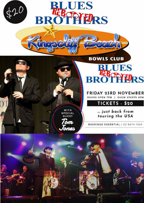 Blues Brothers Rebooted (Duo) feat Tom Jones at Kingscliff Beach Bowling Club