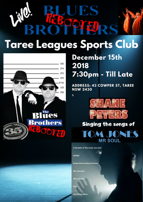 Dec 15th 2018 – Blues Brothers Rebooted Feat Tom Jones at Taree Leagues Sports Club