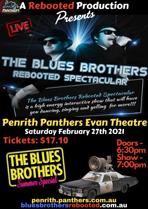 Blues Brothers Rebooted Live at Evan Theatre, Penrith Panthers